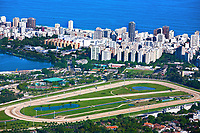 aerial view of the race track of lagoa and leblon in rio de janeiro brazil