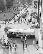 Y-480722-02. Portland SW Morrison & 5th looking west. Trolley 550 Mt Tabor. July 22, 1948