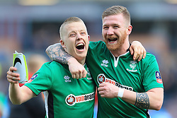 18th February 2017 - FA Cup - 5th Round - Burnley v Lincoln City - Terry Hawkridge of Lincoln (L) and teammate Alan Power celebrate victory - Photo: Simon Stacpoole / Offside.