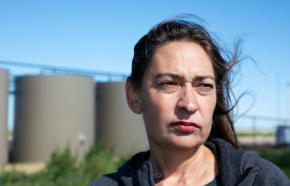 Lori Gloversat a Primexx fracking site in Verhalen, Texas in the Permian Basin.