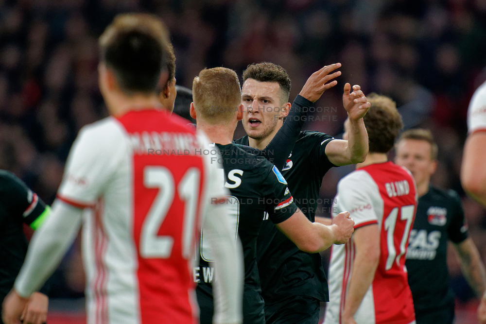 Oussama Idrissi #11 of AZ Alkmaar scores during the Dutch Eredivisie match round 25 between Ajax Amsterdam and AZ Alkmaar at the Johan Cruijff Arena on March 01, 2020 in Amsterdam, Netherlands