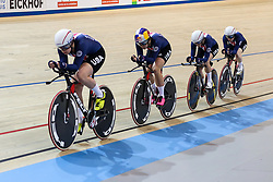 March 1, 2018 - Apeldoorn, Netherlands - Jennifer Valente, Kelly Catlin, Chloe Dygert and Kimberly Geist of USA competes in the Women's Team Pursuit final during UCI Track Cycling World Championships Apeldoorn 2018   in Apeldoorn, the Netherlands on 1st March 2018. The track cycling worlds take place from 28 February to 04 March. (Credit Image: © Foto Olimpik/NurPhoto via ZUMA Press)