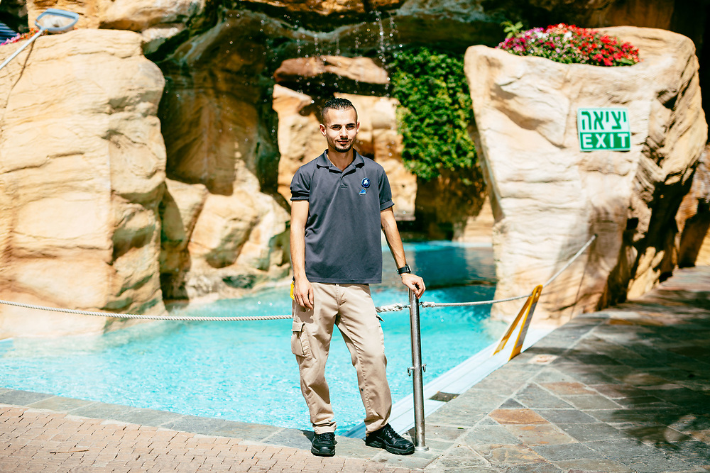 Yousf Bierat, 22, a Jordanian employee from Aqaba, poses for a portrait at Club Hotel Eilat, a suites hotel in Eilat, southern Israel, on March 15, 2018.