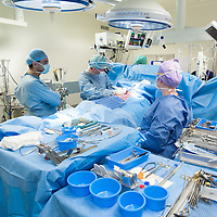 Overview of an operating room during a coronary artery bypass graft (CABG). This is a surgical procedure performed on the heart to treat diseased coronary arteries.
