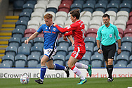 Callum Camps tackled by Billy Bingham during the EFL Sky Bet League 1 match between Rochdale and Gillingham at Spotland, Rochdale, England on 23 September 2017. Photo by Daniel Youngs.
