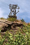Sculpture by Eric Dietman in the vineyard. Domaine Jo Pithon, Anjou, Loire, France