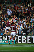 Manu Vatuvei of the Warriors flies for a last chance try during the NRL Rugby League match, Vodafone Warriors v Manly Sea Eagles at Patersons Stadium, Perth, Australia on Saturday 28 July 2012. Photo: Daniel Carson/photosport.co.nz