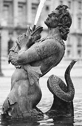 Gothic merman fountain statue