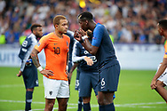 Memphis Depay (NDL) and Paul Pogba (FRA) had a conversation during the UEFA Nations League, League A, Group 1 football match between France and Netherlands on September 9, 2018 at Stade de France stadium in Saint-Denis near Paris, France - Photo Stephane Allaman / ProSportsImages / DPPI