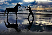 Silhouette of a man and his horse on the Mediterranean beach at sunset. Photographed near Acco, Israel