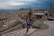 Ricardo Mejía, sky running world champion, trains on the streets of Ecatepec, México
