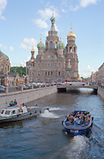 St Petersburg, Russia, August 2002..The Church of the Resurrection of Christ, also known as the Church on Spilled Blood because it was built on the spot were Alexander the Second was blown up by People's Will terrorists in 1881.