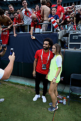 CHARLOTTE, USA - Sunday, July 22, 2018: Liverpool's Mohamed Salah poses for a photo with a photographer after a preseason International Champions Cup match between Borussia Dortmund and Liverpool FC at the  Bank of America Stadium. (Pic by David Rawcliffe/Propaganda)