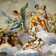The Baroque fresco on the dome ceiling of Karlskirche (St. Charles Church) in Vienna. Painted by Johann Michael Rottmayr, it depicts the intercession of Charles Borromeo. High resolution image.