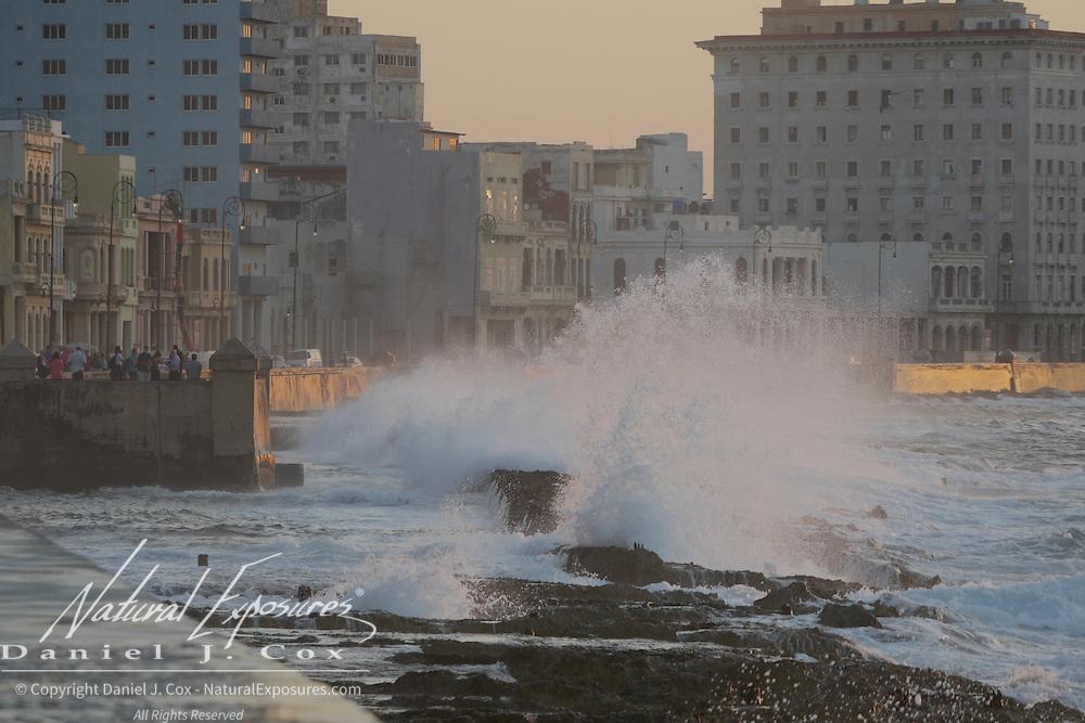 Huge waves crashing over the Malecon wall in Havana, Cuba.