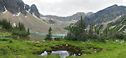 Panoramic view: Gorman Lake is a beautiful alpine lake in the heart of the Canadian Rockies, and not too difficult of a hike. Near Golden, BC, Canada.