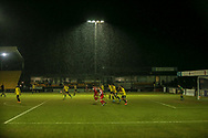 General action as the rain falls during the EFL Sky Bet League 2 match between Harrogate Town and Exeter City at the EnviroVent Stadium, Harrogate, United Kingdom on 19 January 2021.