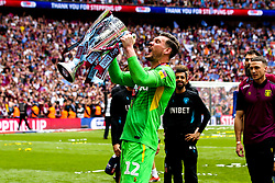 Jed Steer of Aston Villa celebrates winning the Sky Bet Championship Playoff Final and winning promotion to the Premier League - Mandatory by-line: Robbie Stephenson/JMP - 27/05/2019 - FOOTBALL - Wembley Stadium - London, England - Aston Villa v Derby County - Sky Bet Championship Play-off Final