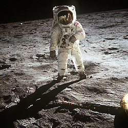 "The Moon - (FILE) -- Astronaut Buzz Aldrin, lunar module pilot, walks on the surface of the Moon near the leg of the Lunar Module (LM) ""Eagle"" during the Apollo 11 exravehicular activity (EVA) on Sunday, July 20, 1969. Astronaut Neil A. Armstrong, commander, took this photograph with a 70mm lunar surface camera. While astronauts Armstrong and Aldrin descended in the Lunar Module (LM) ""Eagle"" to explore the Sea of Tranquility region of the Moon, astronaut Michael Collins, command module pilot, remained with the Command and Service Modules (CSM) ""Columbia"" in lunar orbit. Photo by CNP/ABACAPRESS.COM"