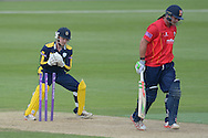 Essex all-rounder Jesse Ryder is stumped by Hampshire wicketkeeper-batsman Adam Wheater off of the bowling of Mason Crane during the Royal London One Day Cup match between Hampshire County Cricket Club and Essex County Cricket Club at the Ageas Bowl, Southampton, United Kingdom on 5 June 2016. Photo by David Vokes.