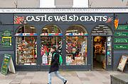Castle Welsh Crafts souvenir shop, city centre of Cardiff, South Wales, UK
