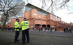 Police presence before the game between Aston Villa and Birmingham City