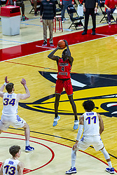 NORMAL, IL - February 27: James Betz and Trae Berhow are too far away to stop a 3 point shot by Abdou Ndiaye during a college basketball game between the ISU Redbirds and the Northern Iowa Panthers on February 27 2021 at Redbird Arena in Normal, IL. (Photo by Alan Look)