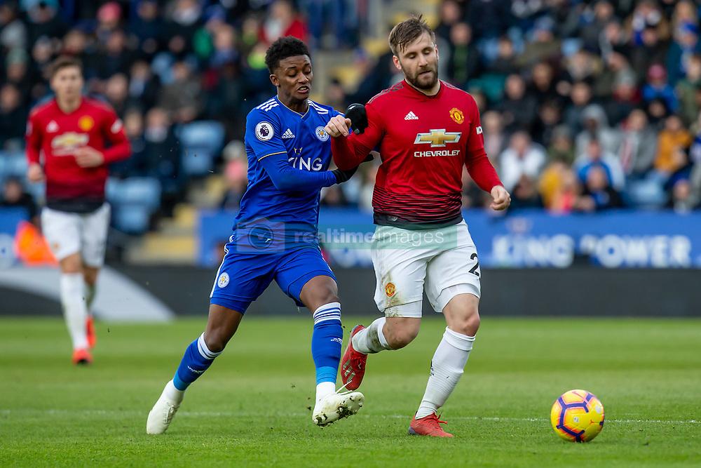 February 3, 2019 - Leicester, England, United Kingdom - Demarai Gray of Leicester City getting to grips with Luke Shaw of Manchester United during the Premier League match between Leicester City and Manchester United at the King Power Stadium, Leicester on Sunday 3rd February 2019. (Credit Image: © Mi News/NurPhoto via ZUMA Press)