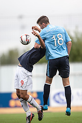 Falkirk's Phil Roberts and Dundee's Declan Gallagher.<br /> Falkirk 3 v 1 Dundee, 21/9/2013.<br /> ©Michael Schofield.