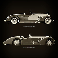 For the lover of old classic cars, this combination of a Duesenberg SJ Speedster  1933 and Mercedes-Benz SSK-710 1930 is truly a beautiful work to have in your home.<br /> The classic Duesenberg SJ Speedster and the beautiful Mercedes-Benz SSK-710 are among the most beautiful cars ever built.<br /> You can have this work printed in various materials and without loss of quality in all formats.<br /> For the oldtimer enthusiast, the series by the artist Jan Keteleer is a dream come true. The artist has made a fine selection of the very finest cars which he has meticulously painted down to the smallest detail. –<br /> -<br /> <br /> BUY THIS PRINT AT<br /> <br /> FINE ART AMERICA<br /> ENGLISH<br /> https://janke.pixels.com/featured/duesenberg-sj-speedster-1933-and-mercedes-benz-ssk-710-1930-jan-keteleer.html<br /> <br /> WADM / OH MY PRINTS<br /> DUTCH / FRENCH / GERMAN<br /> https://www.werkaandemuur.nl/nl/shopwerk/Duesenberg-SJ-Speedster-1933-en-Mercedes-Benz-SSK-710-1930/754098/132?mediumId=1&size=60x60<br /> <br /> –
