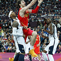 12 August 2012: Spain Pau Gasol goes for the layup during 107-100 Team USA victory over Team Spain, during the men's Gold Medal Game, at the North Greenwich Arena, in London, Great Britain.