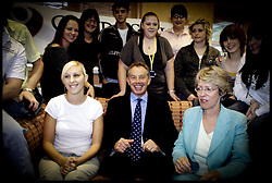Prime Minister Tony Blair and Health Secretary Patricia Hewitt MP (right)  talks to Becky Smalley 19, from Manchester (white top),and members of the Christie crew  about her new Cancer ID Scheme at the Teenage Cancer Trust  Young Oncology Unit at Christie Hospital,Manchester .ChPRESS ASSOCIATION Photo. Picture date:Wednesday 27th September  , 2006. Photo credit should read: Andrew Parsons/PA. POOL