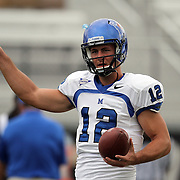 Memphis quarterback Andy Summerlin (12) warms up prior to an NCAA football game between the Memphis Tigers and the Central Florida Knights at Bright House Networks Stadium on Saturday, October 29, 2011 in Orlando, Florida. (AP Photo/Alex Menendez)