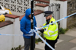 © Licensed to London News Pictures. 31/03/2019. London, UK. Crime scene on Aberdeen Road in Edmonton, north London where a woman was stabbed just after 7pm on Saturday 30 March. According to the Met Police, victim is in a critical condition. Photo credit: Dinendra Haria/LNP