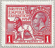 """1924 British Empire Exhibition """"Wembley"""" Stamps (Great Britain, King George V) One Penny Red Designed by H. Nelson. Printing plates engraved by J. A. C. Harrison. Printed by Waterlow and Sons."""