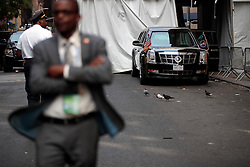NEW YORK, NEW YORK - SEPTEMBER 21: U.S. President Barack Obama's motorcade waits to leave after he spoke at the U.S.-Africa Business Forum at the Plaza Hotel, September 21, 2016 in New York City. The forum is focused on trade and investment opportunities on the African continent for African heads of government and American business leaders.<br /> Photo by Drew Angerer/Pool/ABACAPRESS.COM