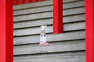 Ground shot of sanitising spray during the EFL Sky Bet League 2 match between Stevenage and Bradford City at the Lamex Stadium, Stevenage, England on 5 April 2021.