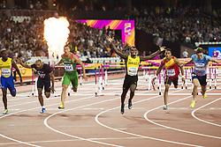 August 7, 2017 - London, STORBRITANNIEN - 170807 Jamaicas Omar McLeod jublar nÅr han vinner finalen pÅ' 110 meter hÅck under dag fyra av friidrotts-VM den 7 augusti 2017 i London  (Credit Image: © Joel Marklund/Bildbyran via ZUMA Wire)