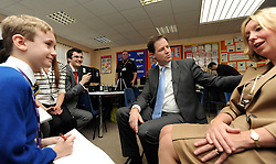 "© Licensed to London News Pictures. 27/01/2012, Solihull, UK. NICK CLEGG (C ) and LORLEY BURT (R ) are interviewed by Joshua Maddocks (L) for the school newspaper ""the Peterbrook Times'  NICK CLEGG  the British Deputy Prime Minister and Liberal Democrat leader is joined by Member of Parliament for Solihull LORLEY BURTat Peterbrook Primary School, Solihull, to see how the local primary school is using its Pupil Premium money. 27th January 2012.   Photo credit : Stephen Simpson/LNP"
