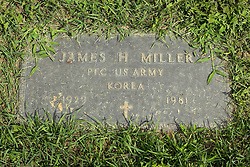31 August 2017:   Veterans graves in Park Hill Cemetery in eastern McLean County.<br /> <br /> James H Miller  Private First Class US Army  Korea  1929  1981