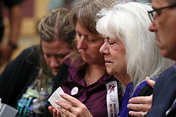 Family members of Marjory Stoneman Douglas shooting victims attend Nikolas Cruz's arraignment on Wednesday, March 14, 2018 at the Broward County Courthouse in Fort Lauderdale, Fla. Cruz is accused of opening fire at Marjory Stoneman Douglas High School in Parkland on Feb. 14, killing 17 students and adults. Photo by Amy Beth Bennett/Sun Sentinel/TNS/ABACAPRESS.COM