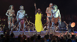 Yothu Yindi and The Treaty Project perform on stage during the Closing Ceremony for the 2018 Commonwealth Games at the Carrara Stadium in the Gold Coast, Australia.