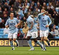 Photo: Paul Greenwood.<br />Manchester City v Aston Villa. The FA Barclays Premiership. 16/09/2007.<br />Man City's Micah Richards (C) celebrats with goal scorer Michael Johnson