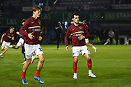 John Marquis (9) of Portsmouth warming up ahead of the EFL Sky Bet League 1 match between Portsmouth and Ipswich Town at Fratton Park, Portsmouth, England on 19 October 2021.