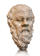 Roman bust of Socrates, 1st cent AD from the construction site of the monument to Vitorio Emanuel II,  Rome, Italy. This portrait of Socrates is similar to the Herm of Socrates from the Naples National Museum. In xenophon's Symposium socrates is described as 'Short body with wide shoulders, prominent belly, aquiline nose, thick wide mouth and head almost completely bold. In 399 BC the famous Athenian philosopher was condemned to death for impiety and corruption. Inv 1236, National Roman Museum, Rome. .<br /> <br /> If you prefer to buy from our ALAMY PHOTO LIBRARY  Collection visit : https://www.alamy.com/portfolio/paul-williams-funkystock/roman-museum-rome-sculpture.html<br /> <br /> Visit our ROMAN ART & HISTORIC SITES PHOTO COLLECTIONS for more photos to download or buy as wall art prints https://funkystock.photoshelter.com/gallery-collection/The-Romans-Art-Artefacts-Antiquities-Historic-Sites-Pictures-Images/C0000r2uLJJo9_s0