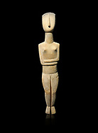 Female Cycladic Canonical type, Spedos variety female figurine statuette. Early Cycladic Period II from Syros phase (2800-2300 BC). Museum of Cycladic Art Athens,  Against black.<br /> <br /> The cycladic figurine has a band etched high on its forehead and a large area on the back of the head of spiralling curls. The surface has probably been protected by paint and the outline of the left eye paint is still detectable as a greyish tinge. It can be assumed that both hair and eyes were painted. Canonical type, Spedos variety