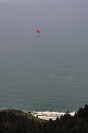 Paraglider over the Pacific Ocean, from Bolinas Ridge, Mount Tamalpais State Park, Marin County, California