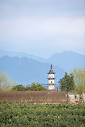 View of a pagoda exterior across a field, Bishan, Anhui Province, China