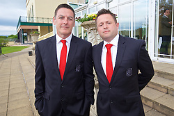 CARDIFF, WALES - Wednesday, June 1, 2016: Wales' masseur David Rowe and physiotherapist David Weeks during a charity send-off gala dinner at the Vale Resort Hotel ahead of the UEFA Euro 2016. (Pic by David Rawcliffe/Propaganda)