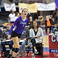 Miyamura's Madison Hyatt (1) calls for the ball in their match against Portales Friday morning at the Santa Ana Star Center in the NMAA Class 4A State Volleyball tournament in Rio Rancho.